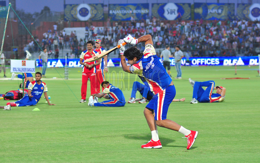 RCB players practice during match 30 of the the Indian Premier League ( IPL) 2012  between The Rajasthan Royals and the Royal Challengers Bangalore held at the Sawai Mansingh Stadium in Jaipur on the 23rd April 2012..Photo by Arjun Panwar/IPL/SPORTZPICS
