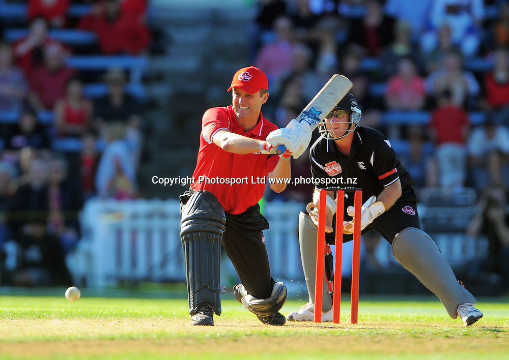 Justin Vaughan bats. Fill The Basin for Christchurch fundraising cricket match - Canterbury Invitational XI v Wellington Legends XI  at Hawkins Basin Reserve, Wellington, New Zealand on Sunday, 13 March 2011. Photo: Dave Lintott / lintottphoto.co.nz