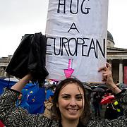 Trafalgar Square. Supporters of the EU protest at the result of the Referendum and the subsequent departure of United Kingdom from Europe.