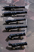 Cannons at San Cristóbal fortress, San Juan National Historic Site, Old San Juan, Puerto Rico..