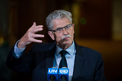 President of the 70th session of the General Assembly, Mogens Lykketoft, addresses the press at the United Nations headquarters in New York, April 14, 2016. The UN General Assembly concluded on Thursday the three-day informal dialogue with candidates for the position of the next secretary-general. EXPA Pictures © 2016, PhotoCredit: EXPA/ Photoshot/ Li Muzi<br /> <br /> *****ATTENTION - for AUT, SLO, CRO, SRB, BIH, MAZ, SUI only*****