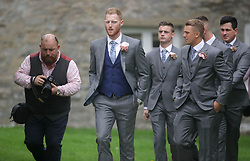 England all-rounder Ben Stokes (centre) arrives for his marriage to fiancee Clare Ratcliffe, at St Mary the Virgin, East Brent, Somerset.