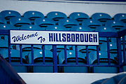A welcome to Hillsborough sign inside the Hillsborough Stadium, home of Sheffield Wednesday before the EFL Sky Bet Championship match between Sheffield Wednesday and Stoke City at Hillsborough, Sheffield, England on 22 October 2019.