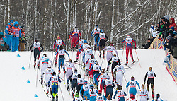 21.02.2016, Salpausselkae Stadion, Lahti, FIN, FIS Weltcup Langlauf, Lahti, Damen Skiathlon, im Bild Athleten beim Anstieg // Athletes during Ladies Skiathlon FIS Cross Country World Cup, Lahti Ski Games at the Salpausselkae Stadium in Lahti, Finland on 2016/02/21. EXPA Pictures © 2016, PhotoCredit: EXPA/ JFK