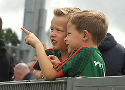 Taking a closer look &hellip;..Young Mayo supporters and cousins Aaron and Christopher Feeney from Ballintubber amoung the Mayo supporters at McHale Park on saturday last.<br /> Pic Conor McKeown