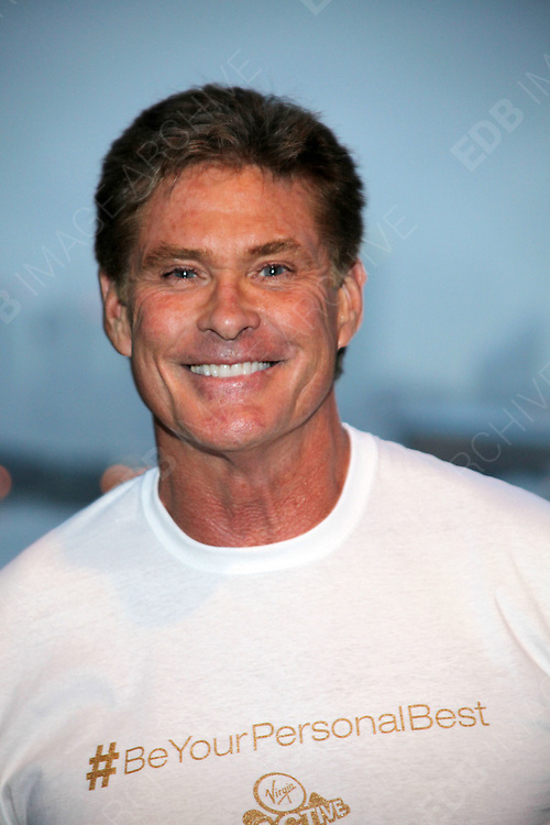 21.SEPTEMBER.2012. LONDON<br /> <br /> DAVID HASSELHOFF AND LUCY HALL LAUNCH THE VIRGIN ACTIVE TRIATHLON AT EXCEL, LONDON<br /> <br /> BYLINE: EDBIMAGEARCHIVE.CO.UK<br /> <br /> *THIS IMAGE IS STRICTLY FOR UK NEWSPAPERS AND MAGAZINES ONLY*<br /> *FOR WORLD WIDE SALES AND WEB USE PLEASE CONTACT EDBIMAGEARCHIVE - 0208 954 5968*