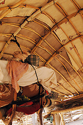 Niger, Agadez, Tidene, 2007. The underside of a Tuareg nomad shelter. Beds are raised off the ground, and the entire structure can be made ready to move in one day.