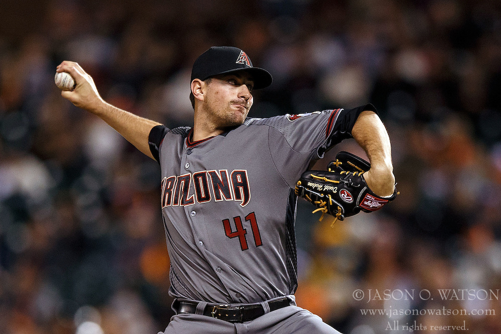 SAN FRANCISCO, CA - APRIL 18: Daniel Hudson #41 of the Arizona Diamondbacks pitches against the San Francisco Giants during the eighth inning at AT&T Park on April 18, 2016 in San Francisco, California. The Arizona Diamondbacks defeated the San Francisco Giants 9-7 in 11 innings.  (Photo by Jason O. Watson/Getty Images) *** Local Caption *** Daniel Hudson