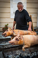 Mikulov, Moravia, Czech Republic, September 2015. Pigs rotating over a charcoal fire, during the Palava wine festival. Mikulov is arguably the most attractive of the southern Moravian wine towns, surrounded by white, chalky hills and adorned with an amazing hilltop Renaissance chateau, visible for miles around. The South Moravian region of Pálava, which is a part of UNESCO Lower Morava Biosphere Reserve, is undoubtedly one of those places. A beautiful landscape of dazzlingly white rocks, blossoming meadows, lowland forests, romantic ruins of medieval castles, crystal-clear lakes and sun-drenched vineyards. All of this in a region that has one of the warmest climates in the Czech Republic and offers excellent opportunities for hiking, cycling, water sports and dining which you will remember for a long time to come. Southern Moravia is most famous for its wine,  rolling hills and pretty landscapes. Photo by Frits Meyst / MeystPhoto.com