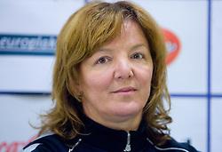 Coach Marta Bon at press conference of women handball club RK Krim Mercator,  on October 20, 2009, in M Hotel, Ljubljana, Slovenia.   (Photo by Vid Ponikvar / Sportida)