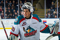 KELOWNA, CANADA - JANUARY 30: Roman Basran #30 of the Kelowna Rockets stands at the bench during a time out against the Seattle Thunderbirds on January 30, 2019 at Prospera Place in Kelowna, British Columbia, Canada.  (Photo by Marissa Baecker/Shoot the Breeze)