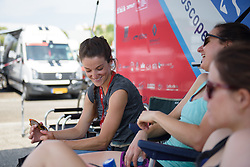 Lizzie Deignan chats to Megan Guarnier at La Course High Speed Pursuit 2017 - a 22.5 km pursuit road race on July 22, 2017, in Marseille, France. (Photo by Sean Robinson/Velofocus.com)
