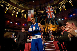 © Licensed to London News Pictures. London, UK  07/10/2011. UK boxer JOEL KIRBY, Royal Navy entering the ring.  Members of the UK and US Armed Forces go head to head in the Royal Albert Hall cup boxing match. This is the first time a boxing event has taken place in the historic venue following a court ruling banning the use of the hall for boxing and wrestling in 1999. The Court of Appeal subsequently overturned the decision earlier this year. The venue has hosted some of the greatest names in British boxing including Sir Henry Cooper, Frank Bruno, Lennox Lewis and Prince Naseem Hamed. Photo credit: Ben Cawthra/LNP