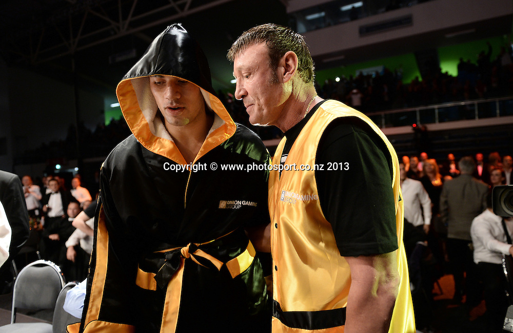 Joseph Parker and trainer Kevin Barry. Hydr8 Zero Explosion Boxing event by Duco Promotions. Trusts Stadium. Auckland, New Zealand. Thursday 13 June 2013. Photo: Andrew Cornaga /photosport.co.nz.