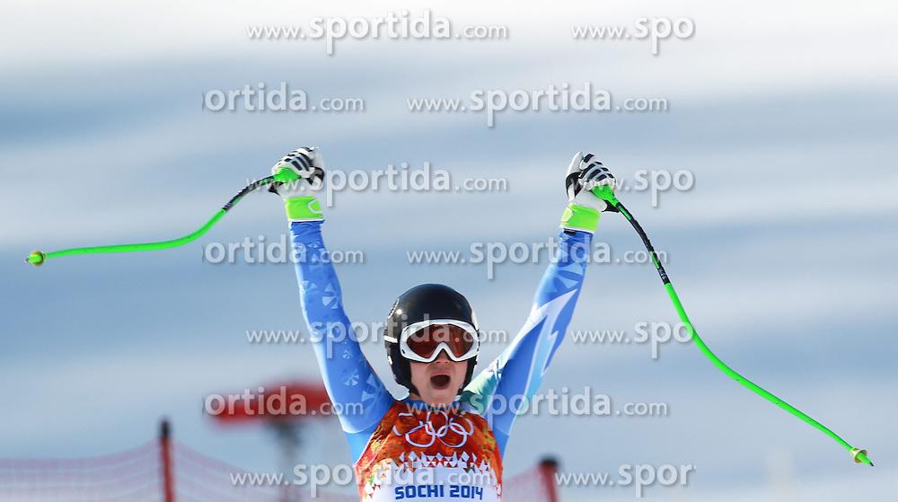 12.02.2014, Rosa Khutor Alpine Resort, Krasnaya Polyana, RUS, Sochi, 2014, Abfahrt, Damen, im Bild Goldmedaillen Gewinnerin Tina Maze (SLO) // Olympic Champion Tina Maze of Slovenia during the ladies downhill to the Olympic Winter Games 'Sochi 2014' at the Rosa Khutor Alpine Resort, Krasnaya Polyana, Russia on 2014/02/12. EXPA Pictures &copy; 2014, PhotoCredit: EXPA/ Stefan Matzke <br /> <br />  *****ATTENTION - OUT of GER*****