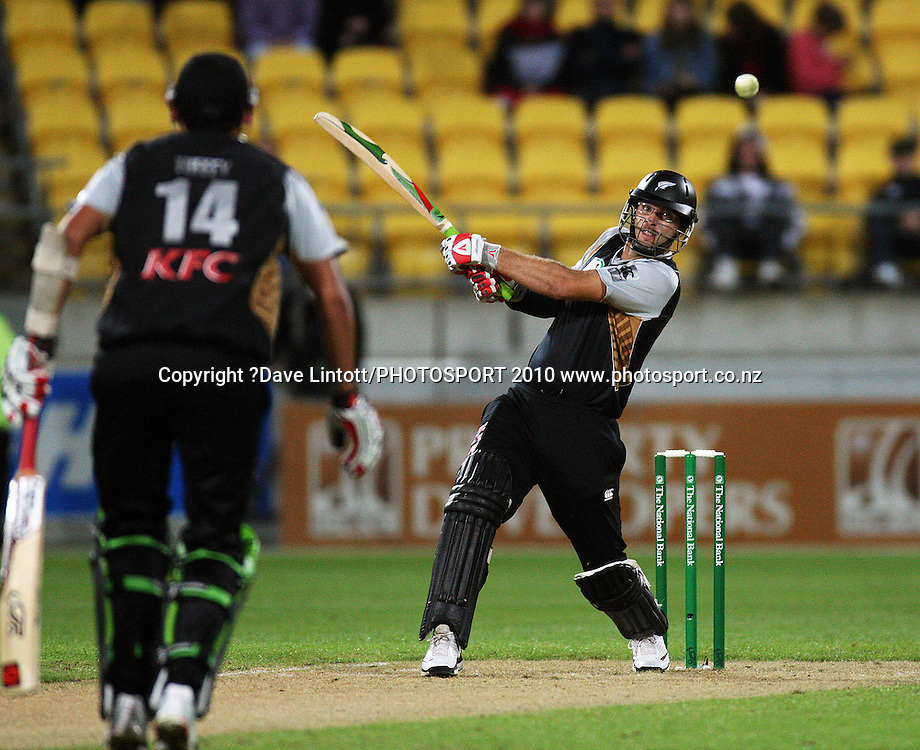 NZ captain Daniel Vettori bats.<br /> 1st Twenty20 cricket match - New Zealand v Australia at Westpac Stadium, Wellington. Friday, 26 February 2010. Photo: Dave Lintott/PHOTOSPORT