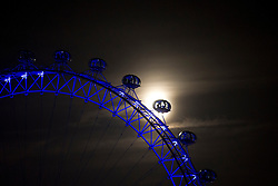 © Licensed to London News Pictures. 29/11/2012. London, UK. The moon is seen with the London Eye this evening (29/11/12) in London. Photo credit: Matt Cetti-Roberts/LNP