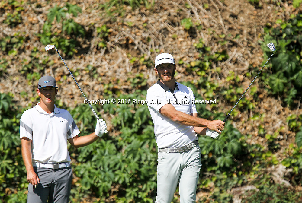 Dustin Johnson, right, and Kevin Chappell play in the Final Round of the Northern Trust Open at the Riviera Country Club on February 21, 2016, in Los Angeles,(Photo by Ringo Chiu/PHOTOFORMULA.com)<br /> <br /> Usage Notes: This content is intended for editorial use only. For other uses, additional clearances may be required.