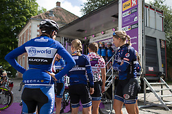 Hitec Products Cycling Team riders wait for their turn to sign on for Stage 2 of the Ladies Tour of Norway - a 140.4 km road race, between Sarpsborg and Fredrikstad on August 19, 2017, in Ostfold, Norway. (Photo by Balint Hamvas/Velofocus.com)