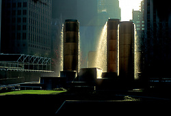 Stock photo of Wortham Fountain in Tranquility Park in downtown Houston, Texas.