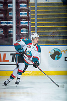 KELOWNA, CANADA - DECEMBER 27: Marek Skvrne #9 of the Kelowna Rockets warms up against the Kamloops Blazers on December 27, 2017 at Prospera Place in Kelowna, British Columbia, Canada.  (Photo by Marissa Baecker/Shoot the Breeze)  *** Local Caption ***
