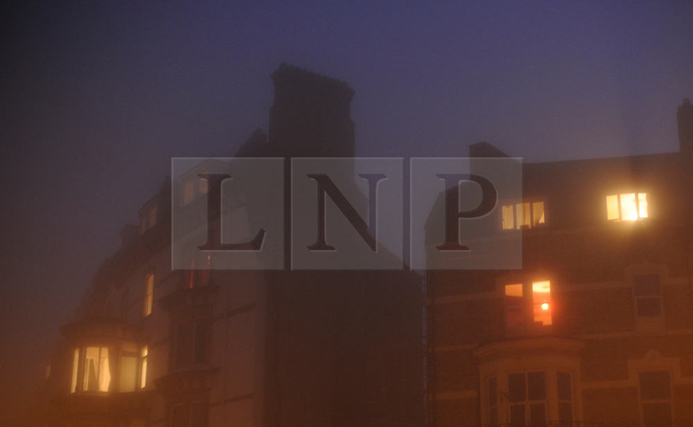 © Licensed to London News Pictures. 20/11/2011..Saltburn, England...The fog descends around buildings on the Upper Promenade in Saltburn, Cleveland...Photo credit : Ian Forsyth/LNP