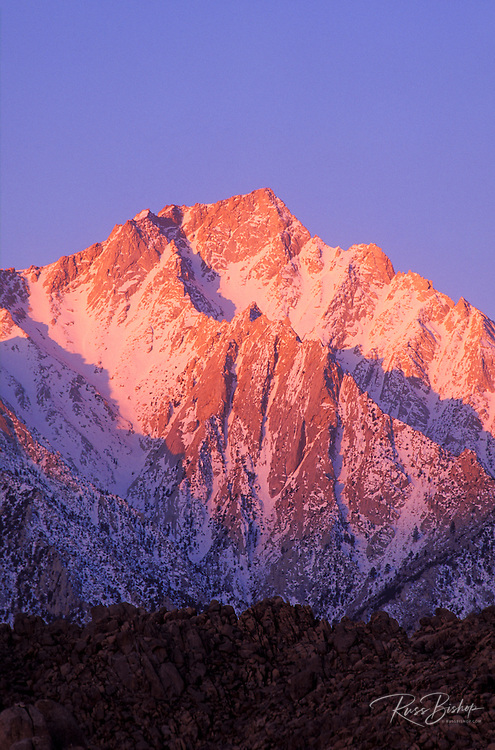 Winter dawn on Lone Pine Peak from the Alabama Hills, Inyo National Forest, Sierra Nevada Mountains, California