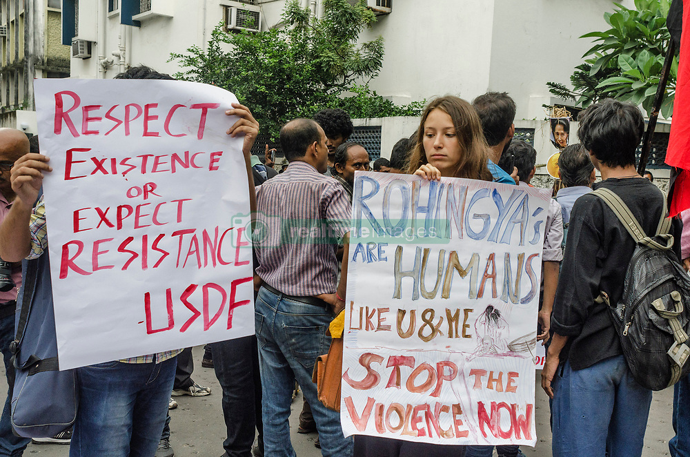 September 4, 2017 - Kolkata, west bengal, india - Kolkata, West Bengal, India : On September 4th, 2017 Bastar soliditary network of Kolkata has organised a protest infront of Myanmar consulate of Kolkata. They raised voice against the genocide on Rohingya of Myanmar along with India government's recent verdict on deportation of .Rohingyas from India. People join the protest rally with them against the ethnic cleansing. (Credit Image: © Debsuddha Banerjee via ZUMA Wire)