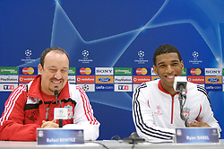 MARSEILLE, FRANCE - Friday, November 2, 2007: Liverpool's manager Rafael Benitez and Ryan Babel at a press conference at the Stade Velodrome ahead of the final UEFA Champions League Group A match against Olympique de Marseille. Liverpool must win to progress to the knock-out stage. (Photo by David Rawcliffe/Propaganda)