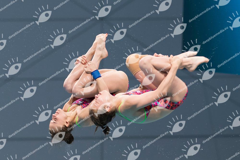 BELOVA Valeriia TIMOSHININA Iuliia RUS<br /> Diving<br /> Women's 1om platform final<br /> 16/07/2017 <br /> XVII FINA World Championships Aquatics<br /> Duna Arena<br /> Photo @ Giorgio Perottino/Deepbluemedia/Insidefoto