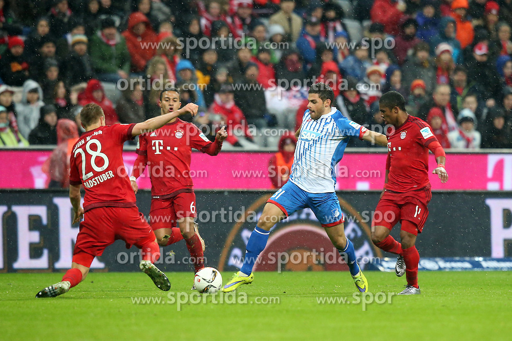 31.01.2016, Allianz Arena, Muenchen, GER, 1. FBL, FC Bayern Muenchen vs TSG 1899 Hoffenheim, 19. Runde, im Bild Holger Badstuber (FC Bayern Muenchen) Thiago Alcantara (FC Bayern Muenchen) Kevin Volland (TSG 1899 Hoffenheim) Douglas Costa (FC Bayern Muenchen) // during the German Bundesliga 19th round match between FC Bayern Munich and TSG 1899 Hoffenheim at the Allianz Arena in Muenchen, Germany on 2016/01/31. EXPA Pictures &copy; 2016, PhotoCredit: EXPA/ Eibner-Pressefoto/ Langer<br /> <br /> *****ATTENTION - OUT of GER*****