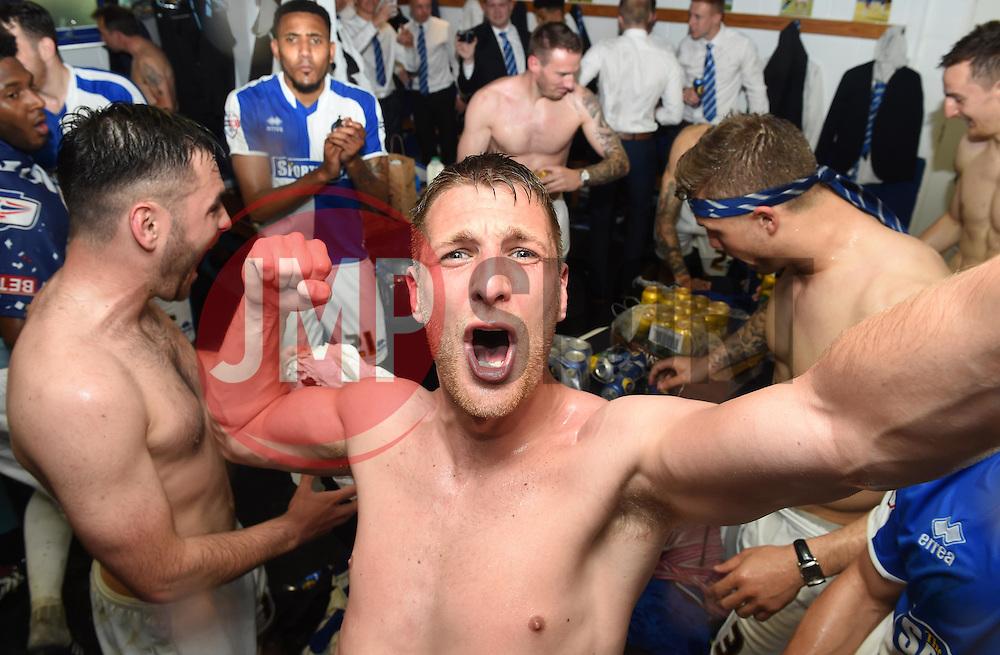 Lee Brown of Bristol Rovers celebrates with a selfie  - Mandatory by-line: Joe Meredith/JMP - 07/05/2016 - FOOTBALL - Memorial Stadium - Bristol, England - Bristol Rovers v Dagenham and Redbridge - Sky Bet League Two