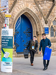 Pictured: Leith Walk Council By-Election, Leith Walk,  Edinburgh, Scotland, 10 April 2019. Pictured:  Leith Walk. The City of Edinburgh Council's elections team, prepare for the Leith Walk by-election. Officers Jake &amp; Ross set up for polling at one of the Ward polling stations at Pilrig St Paul&rsquo;s Church Hall and deliver the materials needed for the vote.  The by-election takes place on Thursday April 11.<br /> <br /> Sally Anderson | EdinburghElitemedia.co.uk
