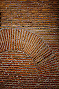 Walls and details of their construction on the Palatine Hill in Rome, Italy.