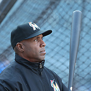 NEW YORK, NEW YORK - APRIL 12: Hitting coach Barry Bonds, Miami Marlins, watching batting practice before the Miami Marlins Vs New York Mets MLB regular season ball game at Citi Field on April 12, 2016 in New York City. (Photo by Tim Clayton/Corbis via Getty Images)