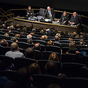 Felix Baumgartner, Tom Crouch, Art Thompson and Joe Kittenger take part in a panel discussion about the Stratos project in the IMAX Theater at The Smithsonian National Air and Space Museum in Washington, D.C., USA on 1 April, 2014.