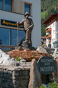 Mountaineering statue in Neustift im Stubaital, Tyrol, Austria