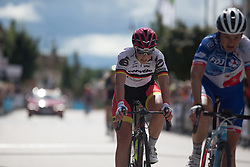 Lisa Klein (GER) of Cervélo-Bigla Cycling Team crosses the finish line of the Crescent Vargarda - a 152 km road race, starting and finishing in Vargarda on August 13, 2017, in Vastra Gotaland, Sweden. (Photo by Balint Hamvas/Velofocus.com)