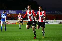 Jack Stacey of Exeter City celebrates scoring the winner - Mandatory by-line: Gary Day/JMP - 18/05/2017 - FOOTBALL - St James Park - Exeter, England - Exeter City v Carlisle United - Sky Bet League Two Play-off Semi-Final 2nd Leg