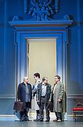 Oslo <br /> by J. T. Rogers <br /> at The Lyttelton Theatre, National Theatre, Southbank, London, Great Britain <br /> press photocall <br /> 8th September 2017 <br /> a Lincoln Centre Theatre Production<br /> <br /> <br /> Peter Polycarpou as Ahmed Qurie <br /> Thomas Arnold as Pundak <br /> Nabil Elouahabi as Hassan Asfour<br /> Paul Herzberg as Yair Hirschfeld <br /> <br /> <br /> <br /> <br /> directed by Bartlett Sher <br /> Michael Yeargan - set design <br /> Catherine Zuber - Costume design <br /> Donald Holder - Lighting design <br /> Photograph by Elliott Franks <br /> Image licensed to Elliott Franks Photography Services
