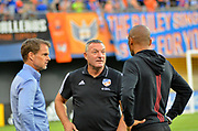 FC Cincinnati head coach Ron Jans and Atlanta United FC head coach Frank de Boer talk prior to the start of the MLS soccer game between FC Cincinnati and Atlanta United FC, Wednesday, September 18, 2019, in Cincinnati, OH. Atlanta defeated Cincinnati 2-0. (Jason Whitman/Image of Sport)