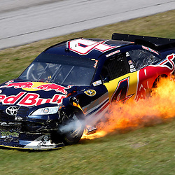 April 17, 2011; Talladega, AL, USA; NASCAR Sprint Cup Series driver Kasey Kahne (4) car catches fire during the Aarons 499 at Talladega Superspeedway.   Mandatory Credit: Derick E. Hingle