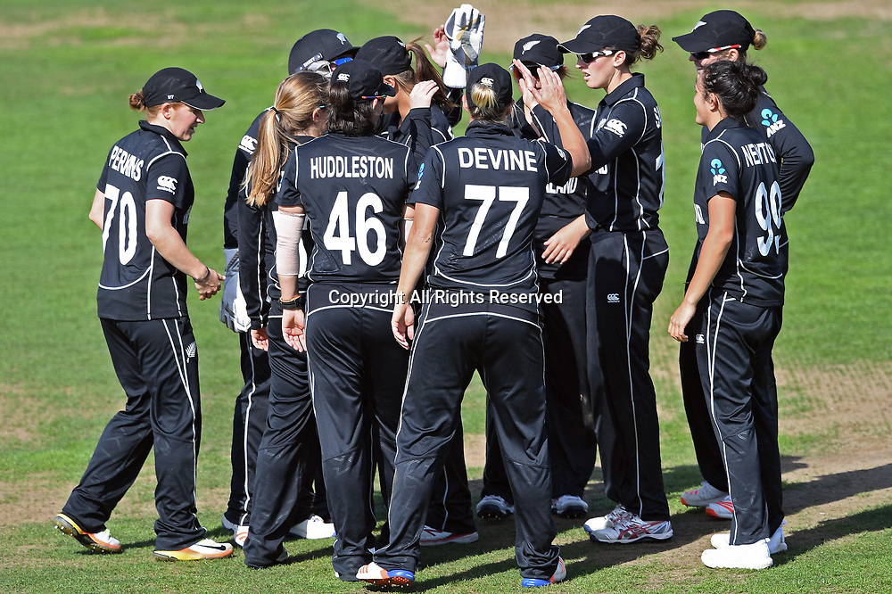 July 2nd 2017, The Brightside Ground, Bristol, England; ICC Womens World Cup; Australia Women versus New Zealand Women; New Zealand celebrate the wicket of Ellyse Perry of Australia leaving the game level