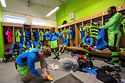 FGR dressing room pre kick off during the Vanarama National League match between Forest Green Rovers and Chester FC at the New Lawn, Forest Green, United Kingdom on 14 April 2017. Photo by Shane Healey.