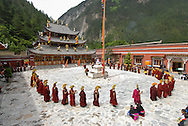 Religious manifestation, Jiuzhaigou national park, Sichuan, China.