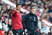 AFC Bournemouth manager Eddie Howe and Jason Tindall during the Premier League match between Bournemouth and Norwich City at the Vitality Stadium, Bournemouth, England on 19 October 2019.