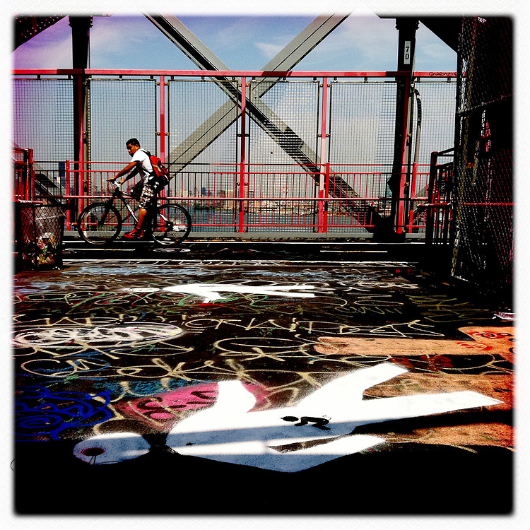 In the middle of the Williamsburg Bridge - New York, New York