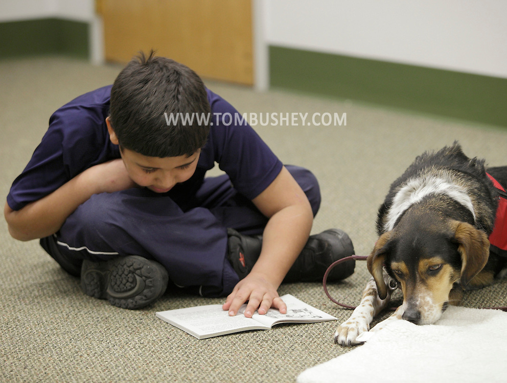 Chris Peralta, 8, reads to Milo during the FURacious reading program at Cornwall Library on Friday, Feb. 25, 2011.