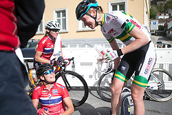 Ingrid Moe (NOR) of Team Norway and Lisen Hocking (AUS) of Team Australia talk about the time they spent together in the break on Stage 3 of the Ladies Tour of Norway - a 156.6 km road race, between Svinesund (SE) and Halden on August 20, 2017, in Ostfold, Norway. (Photo by Balint Hamvas/Velofocus.com)