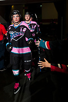 KELOWNA, CANADA - OCTOBER 21: Dillon Dube #19 of the Kelowna Rockets enters the ice at the start of second period against the Portland Winterhawks on October 21, 2017 at Prospera Place in Kelowna, British Columbia, Canada.  (Photo by Marissa Baecker/Shoot the Breeze)  *** Local Caption ***
